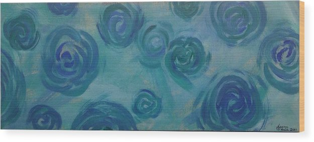 Blue Wood Print featuring the painting Turquoise Flora by Alyssa Davila