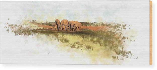 Elephants Wood Print featuring the painting Waterhole - Addo National Park by Ronald Rosenberg
