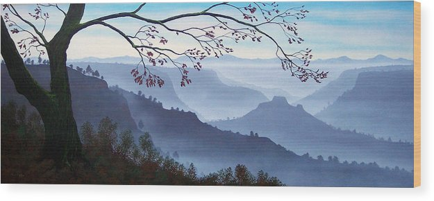Mural Wood Print featuring the painting Butte Creek Canyon Mural by Frank Wilson