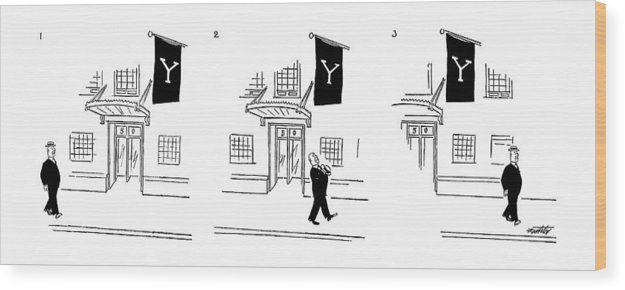 Education Wood Print featuring the drawing New Yorker July 10th, 1954 by Mischa Richter