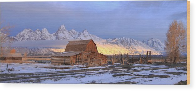 Grand Tetons National Park Wood Print featuring the photograph Old Barn On Mormon Row by Floyd Tillery