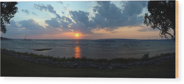 Lake Michigan Wood Print featuring the photograph Sunset Over Lake Michigan by Mike Stanfield