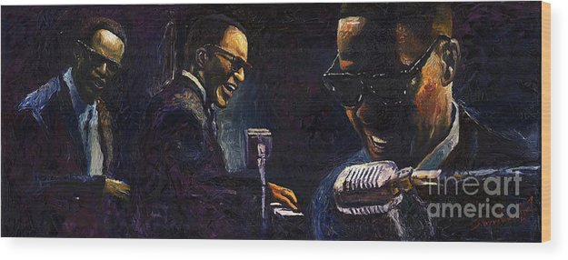 Jazz Wood Print featuring the painting Jazz Ray Charles by Yuriy Shevchuk