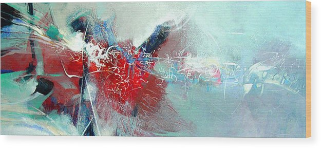 Abstract Wood Print featuring the painting Body Talk by Dale Witherow
