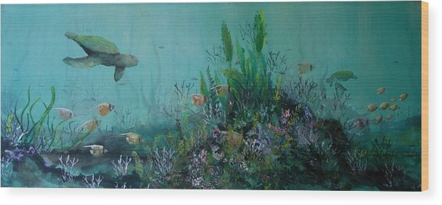 Turtle Wood Print featuring the painting Endangered Green by Ana Bikic