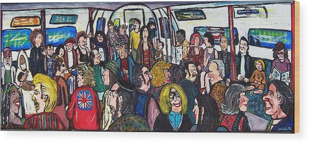 People Wood Print featuring the painting Mind The Gap by Richard Hubal