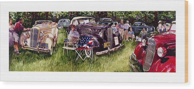 1936 Chev Chevrolet 1937 Lasalle Packard Automobile Cars Show Concours D Wood Print featuring the painting Old Glories by Mike Hill