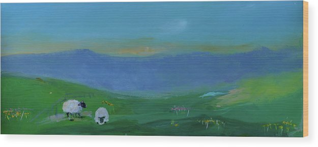 Fantasy Sheep Wood Print featuring the painting Sheep In The Meadow by Teresa Tilley
