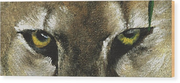 Panther Eyes Wood Print featuring the painting Whos Watching Who Florida Panther by Darlene Green
