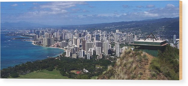 Landscape Wood Print featuring the photograph Downtown Honolulu by Michael Lewis