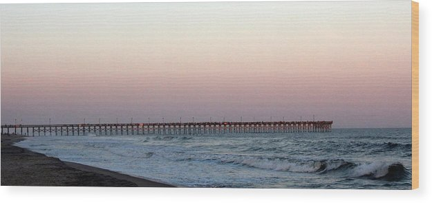 Wood Print featuring the photograph Distant Pier Sunset by Rand Wall