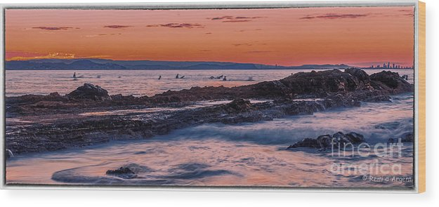 Sunset Wood Print featuring the photograph Last Waves by Remi D Photography