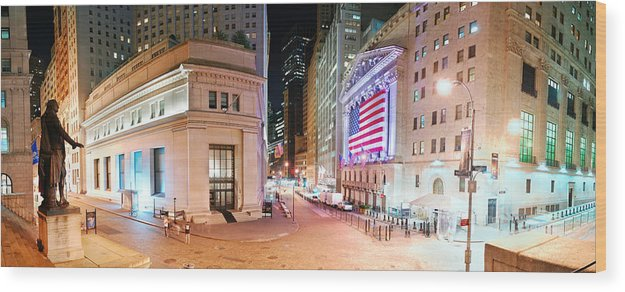 New York City Wood Print featuring the photograph New York City Wall Street Panorama by Songquan Deng