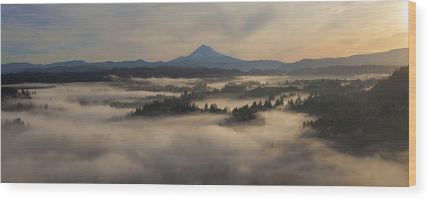 Sunrise Wood Print featuring the photograph Sunrise Over Mount Hood And Sandy River by Jit Lim