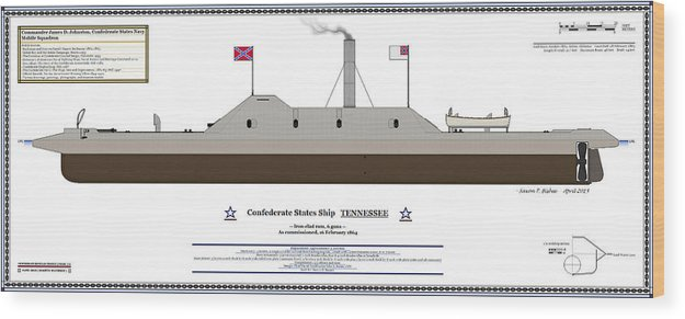 Navy Wood Print Featuring The Digital Art Css Tennessee Color Profile By Saxon Bisbee