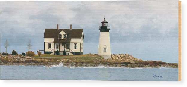 Lighthouse Wood Print featuring the drawing Foggy Guardian by Brent Ander