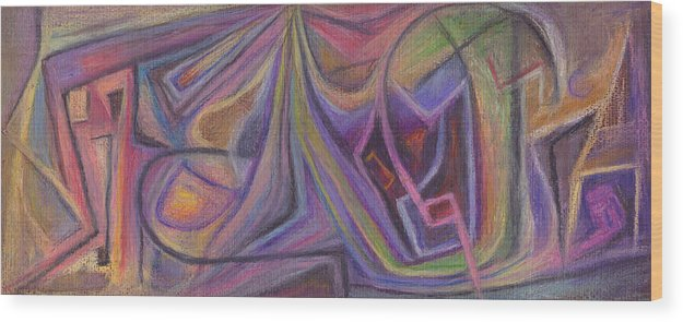 Abstract Wood Print featuring the pastel Masks by Tom Kecskemeti