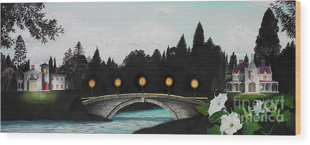 Architecture Wood Print featuring the painting Night Bridge by Melissa A Benson
