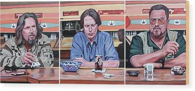 The Big Lebowski Wood Print featuring the painting Pause For Reflection by Tom Roderick
