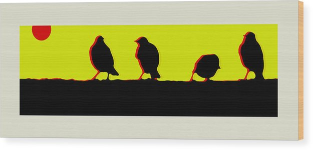 Birds Wood Print featuring the digital art End Of Another Hectic Day by Ck Gandhi