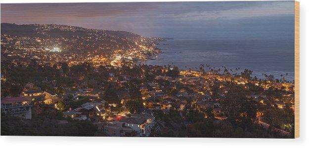 Laguna Beach Wood Print featuring the photograph Laguna Beach City At Night by Cliff Wassmann