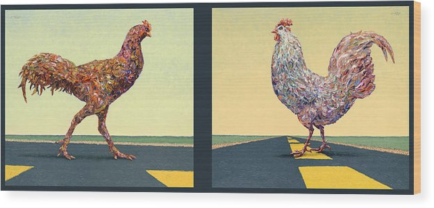 Chicken Wood Print featuring the painting Tale Of Two Chickens by James W Johnson