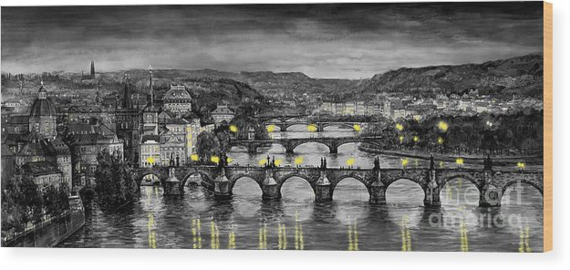 Prague Wood Print featuring the painting Bw Prague Bridges by Yuriy Shevchuk