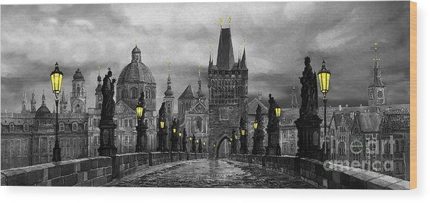 Prague Wood Print featuring the painting Bw Prague Charles Bridge 04 by Yuriy Shevchuk