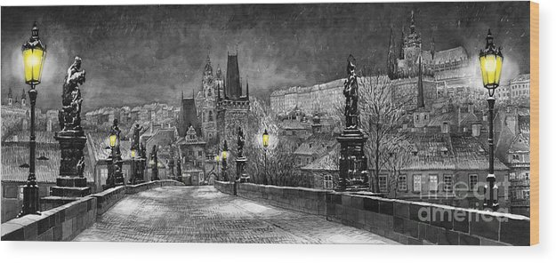 Prague Wood Print featuring the painting Bw Prague Charles Bridge 06 by Yuriy Shevchuk