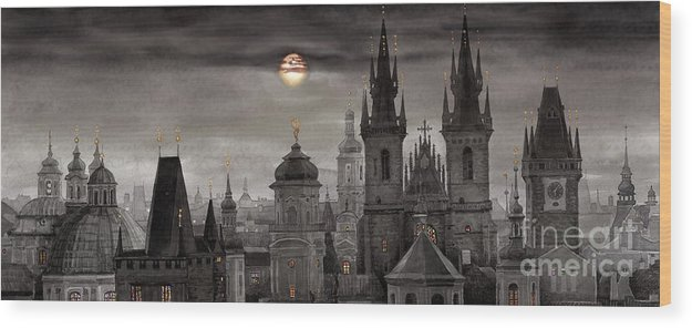 Cityscape Wood Print featuring the painting Bw Prague City Of Hundres Spiers by Yuriy Shevchuk