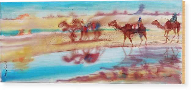 Camels Wood Print featuring the painting Camel Run by Beena Samuel