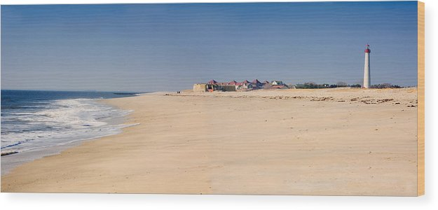 Architecture Wood Print featuring the photograph Cape May Beach Panorama New Jersey by George Oze