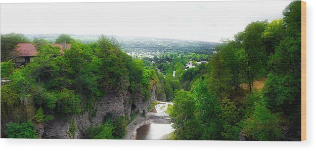 Cornell University Wood Print featuring the photograph Cascadilla Gorge Cornell University Ithaca New York Panorama by Thomas Woolworth