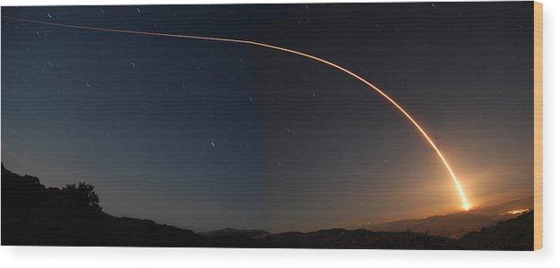 Rocket Wood Print featuring the photograph Delta II Jason 2 Launch June 20 2008 by Brian Lockett