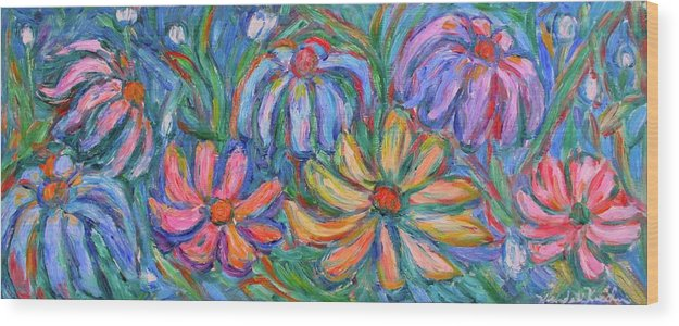Flowers Wood Print featuring the painting Imaginary Flowers by Kendall Kessler
