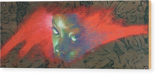 Portraits Wood Print featuring the painting Junglevision by Ken Meyer