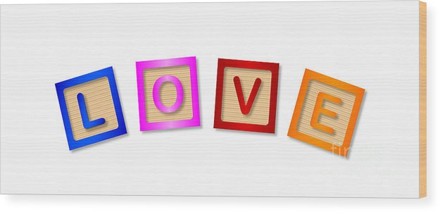 Love Wood Print featuring the digital art Love Blocks by Bigalbaloo Stock