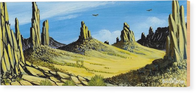 Monument Valley Wood Print featuring the painting Monument Valley Eagle Rock by Bob Patterson