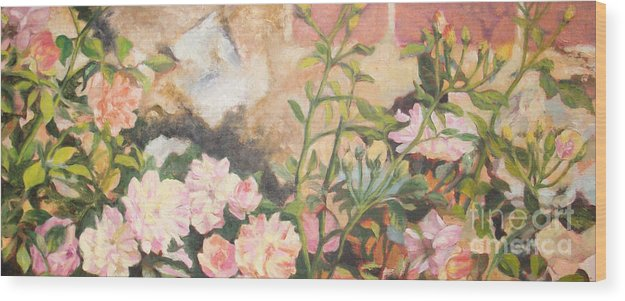 Floral Artwork Wood Print featuring the painting Roses by Loren Lee