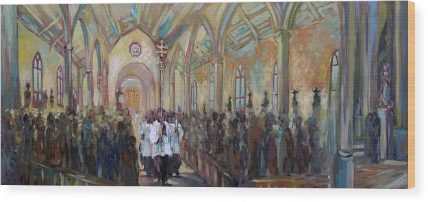 San Fernando Cathedral Wood Print featuring the painting Service In San Fernando Cathedral by Alexa Nelipa