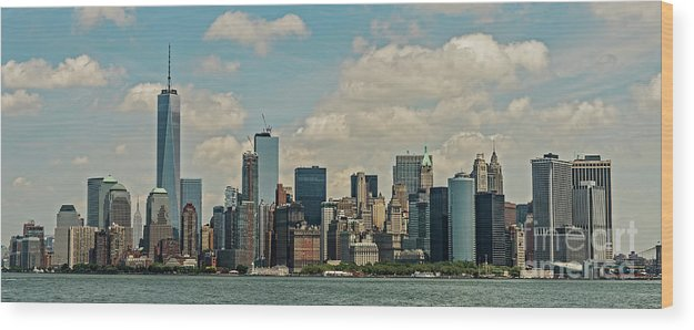 Skyscrapers Wood Print featuring the photograph Skyline Of New York City - Lower Manhattan by David Oppenheimer