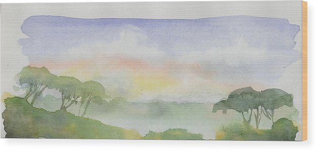 Landscape Wood Print featuring the painting Sunset by Husnu Konuk