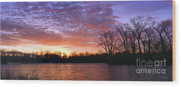 Waterville Wood Print featuring the photograph Waterville Sunrise Panorama 0002 0003 Signed by Jack Schultz
