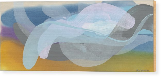 Abstract Wood Print featuring the painting Sleep In Past 8 by Claire Desjardins