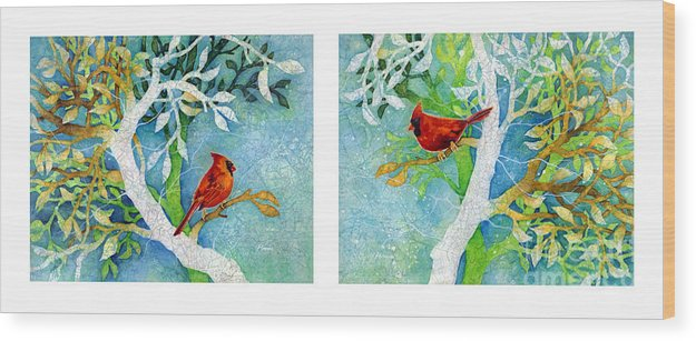 Northern Cardinal Wood Print featuring the painting Sweet Memories Diptych by Hailey E Herrera