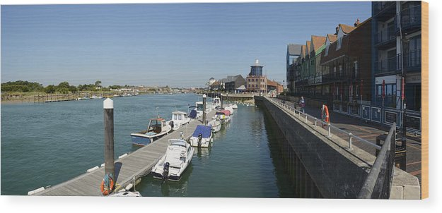 Panoramic Wood Print featuring the photograph The River Arun At Littlehampton by Hazy Apple