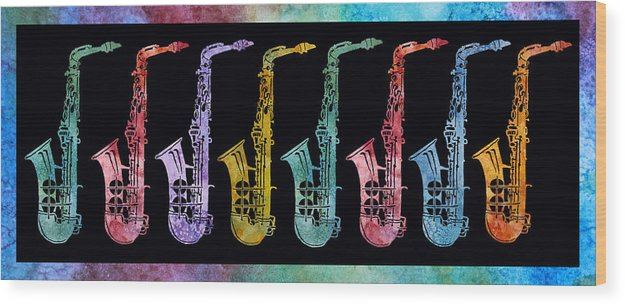 Sax Wood Print featuring the digital art Rainbow Saxophones by Jenny Armitage