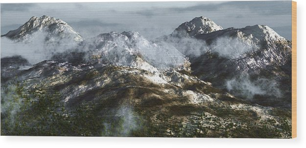 Mountains Wood Print featuring the digital art Cold Mountain by Richard Rizzo
