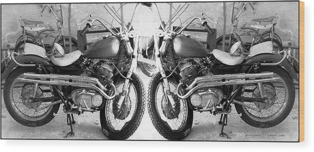 Motor Cycle Wood Print featuring the photograph Confrontation With Death by Gerard Yates