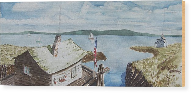 Puget Sound Wood Print featuring the painting Fishing Shack With Old Glory by Robert Thomaston